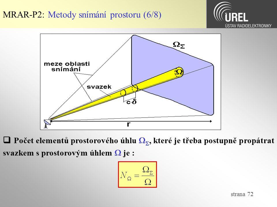 strana 72 MRAR-P2: Metody snímání prostoru (6/8)  Počet elementů prostorového úhlu  , které je třeba postupně propátrat svazkem s prostorovým úhlem