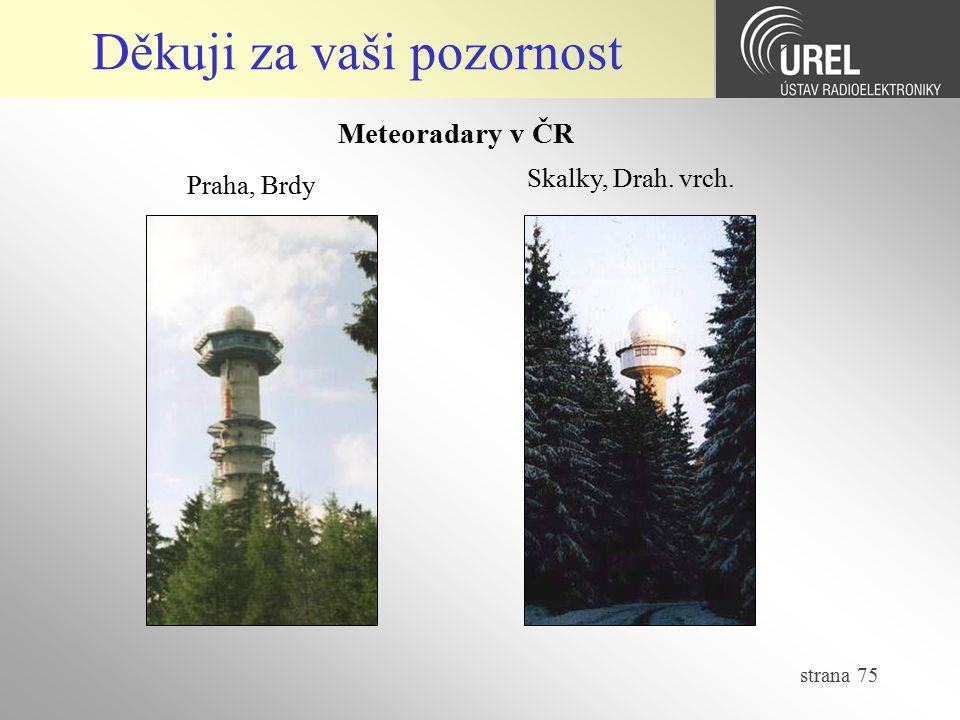 strana 75 Děkuji za vaši pozornost Meteoradary v ČR Praha, Brdy Skalky, Drah. vrch.