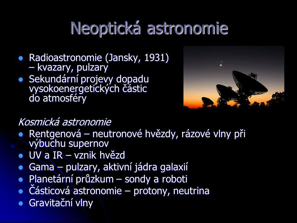 Neoptická astronomie Radioastronomie (Jansky, 1931) – kvazary, pulzary Radioastronomie (Jansky, 1931) – kvazary, pulzary Sekundární projevy dopadu vys