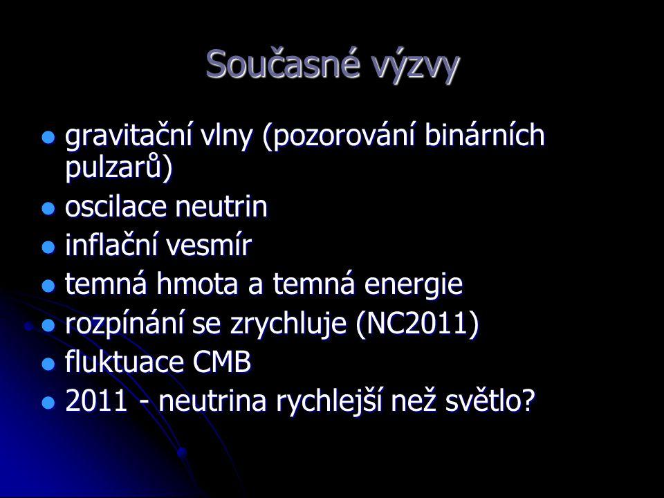 Současné výzvy gravitační vlny (pozorování binárních pulzarů) gravitační vlny (pozorování binárních pulzarů) oscilace neutrin oscilace neutrin inflačn