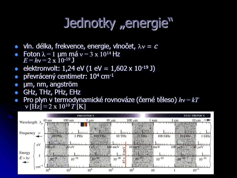 "Jednotky ""energie"" vln. délka, frekvence, energie, vlnočet, = c vln. délka, frekvence, energie, vlnočet, = c Foton λ = 1 μm má ν = 3 x 10 14 Hz E = hν"