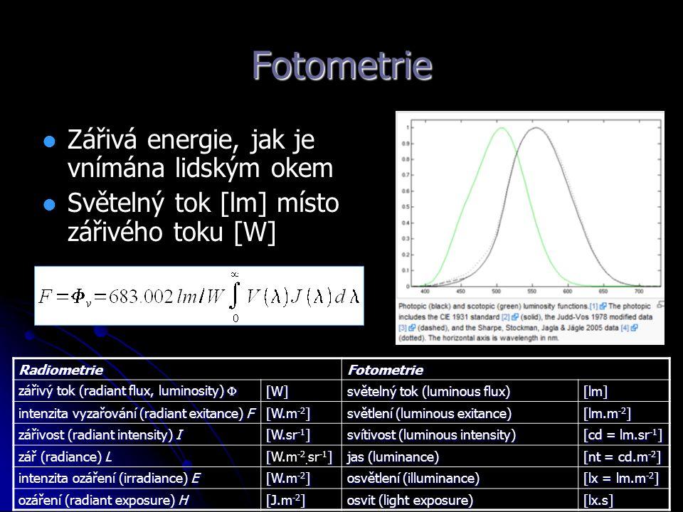 Fotometrie Zářivá energie, jak je vnímána lidským okem Světelný tok [lm] místo zářivého toku [W]RadiometrieFotometrie zářivý tok (radiant flux, lumino