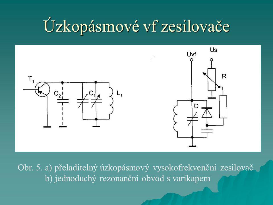 Úzkopásmové vf zesilovače Obr. 5. a) přeladitelný úzkopásmový vysokofrekvenční zesilovač b) jednoduchý rezonanční obvod s varikapem