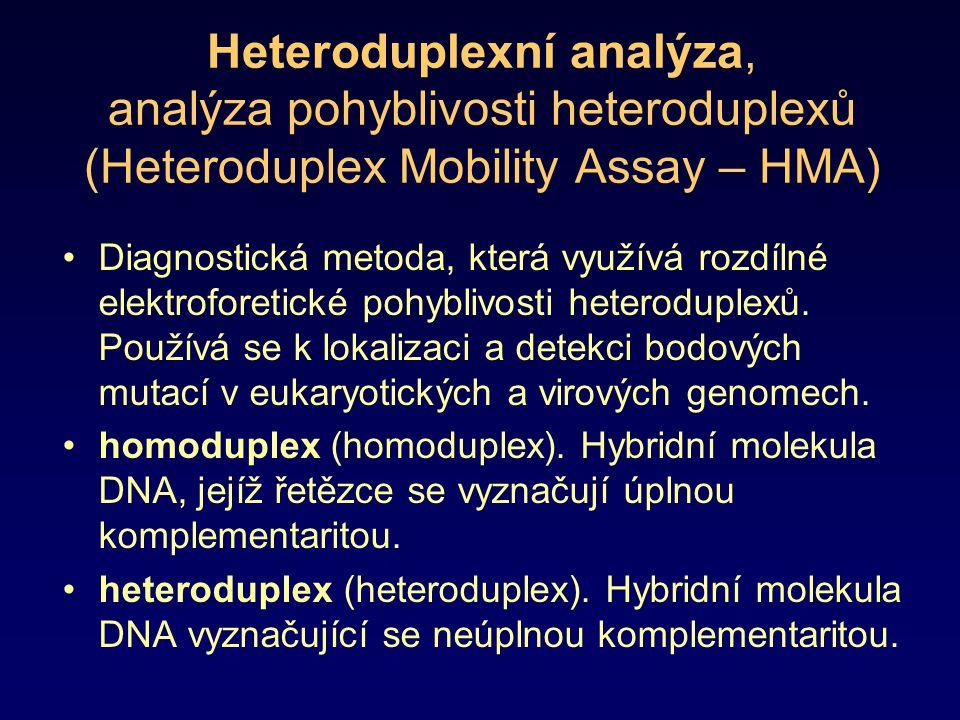 Heteroduplexní analýza, analýza pohyblivosti heteroduplexů (Heteroduplex Mobility Assay – HMA) Diagnostická metoda, která využívá rozdílné elektrofore