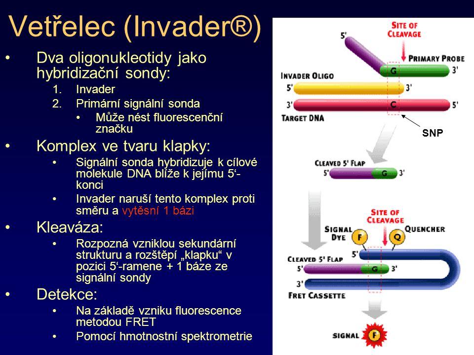 Vetřelec (Invader®) Dva oligonukleotidy jako hybridizační sondy: 1.Invader 2.Primární signální sonda Může nést fluorescenční značku Komplex ve tvaru k