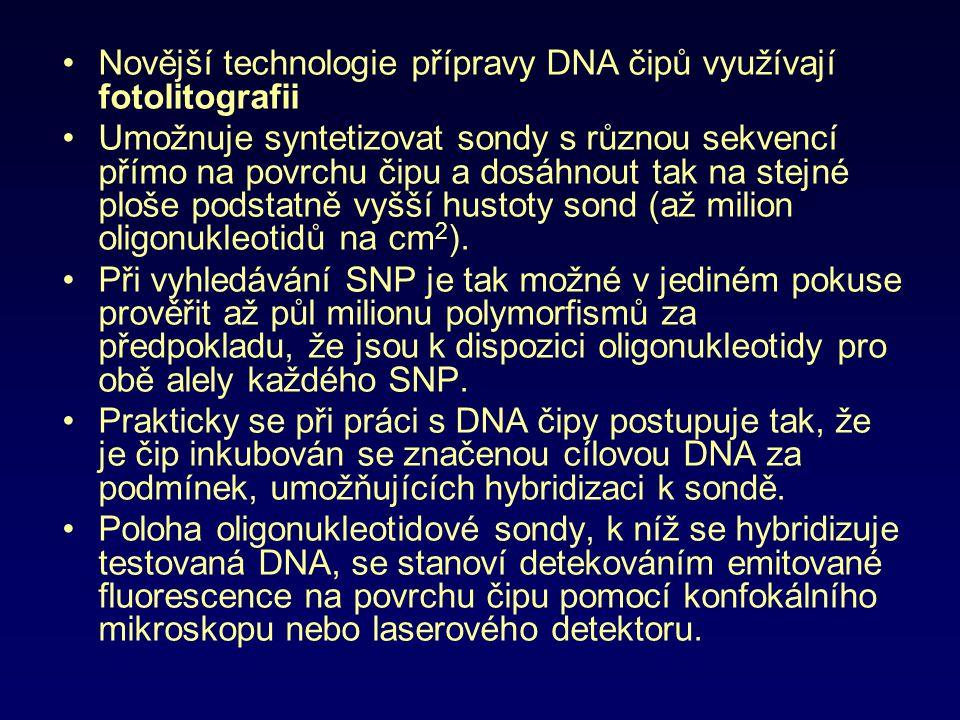 Novější technologie přípravy DNA čipů využívají fotolitografii Umožnuje syntetizovat sondy s různou sekvencí přímo na povrchu čipu a dosáhnout tak na