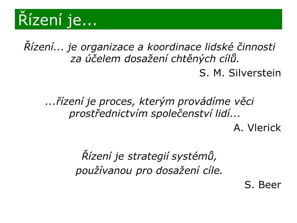 Řízení... je organizace a koordinace lidské činnosti za účelem dosažení chtěných cílů. S. M. Silverstein...řízení je proces, kterým provádíme věci pro
