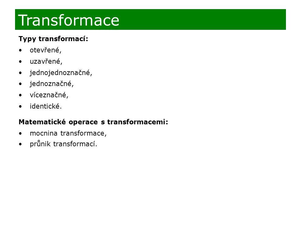 Typy transformací: otevřené, uzavřené, jednojednoznačné, jednoznačné, víceznačné, identické. Matematické operace s transformacemi: mocnina transformac