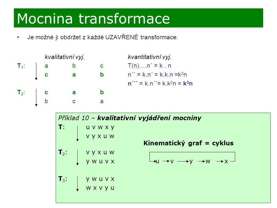 Je možné ji obdržet z každé UZAVŘENÉ transformace. kvalitativní vyj. kvantitativní vyj. T 1 :abcT(n)….n´ = k. n cab n´´ = k.n´ = k.k.n =k 2 n n´´´ = k