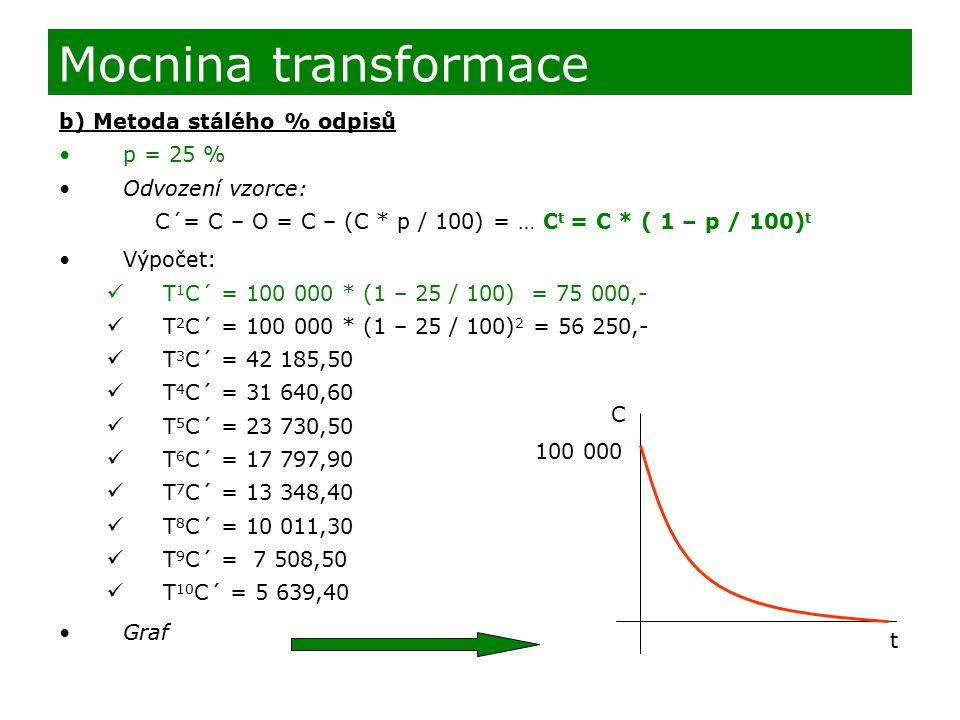 b) Metoda stálého % odpisů p = 25 % Odvození vzorce: C´= C – O = C – (C * p / 100) = … C t = C * ( 1 – p / 100) t Výpočet: T 1 C´ = 100 000 * (1 – 25