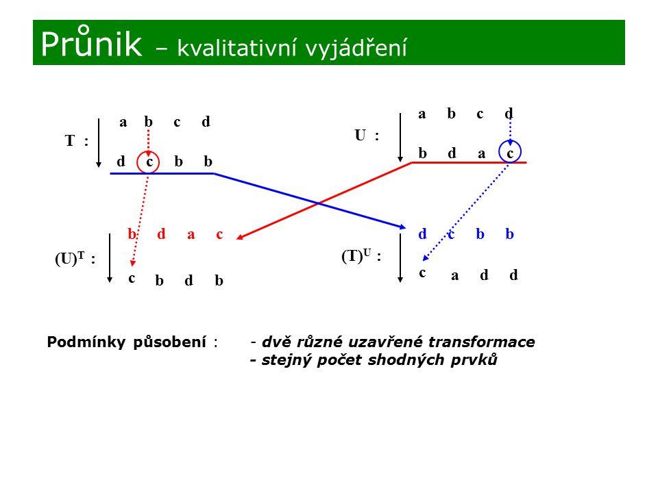 T : a b c d d c b b U : a b c d b d a c (U) T : b d a c c b d b (T) U : d c b b c a d d Podmínky působení : - dvě různé uzavřené transformace - stejný