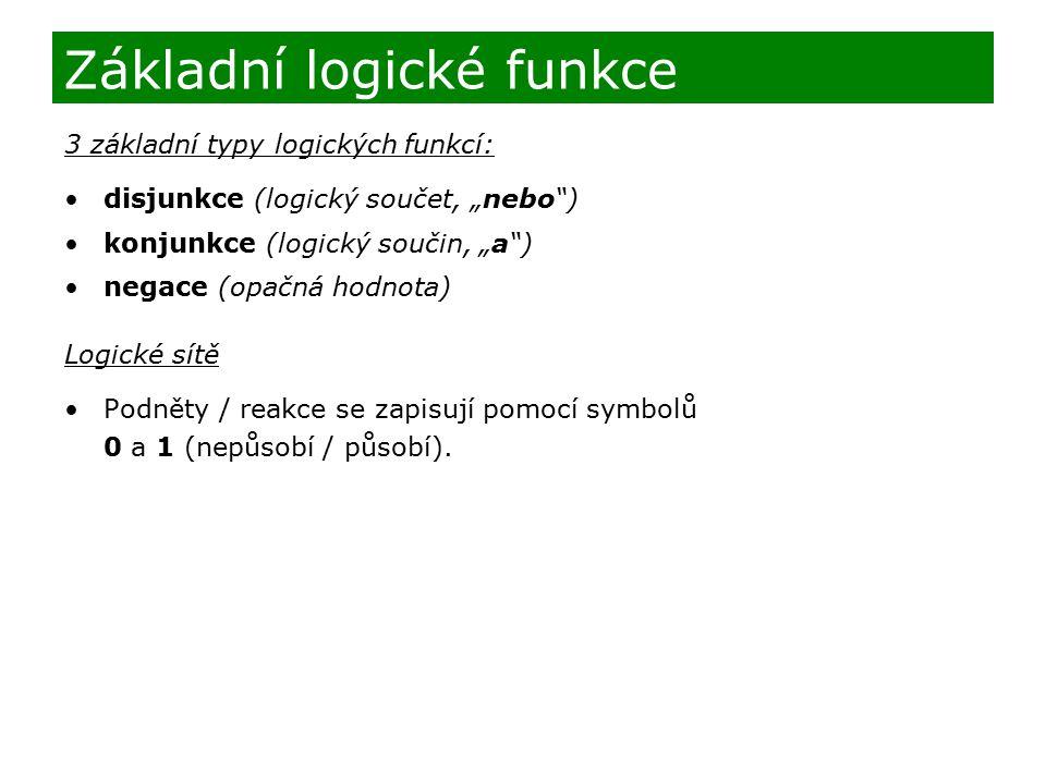 """3 základní typy logických funkcí: disjunkce (logický součet, """"nebo"""") konjunkce (logický součin, """"a"""") negace (opačná hodnota) Logické sítě Podněty / re"""