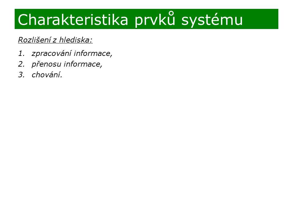 Rozlišení z hlediska: 1.zpracování informace, 2.přenosu informace, 3.chování. Charakteristika prvků systému