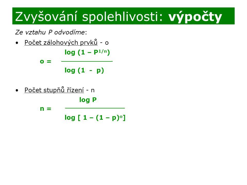 Ze vztahu P odvodíme: Počet zálohových prvků - o log (1 – P 1/n ) o = log (1 - p) Počet stupňů řízení - n log P n = log [ 1 – (1 – p) o ] Zvyšování sp