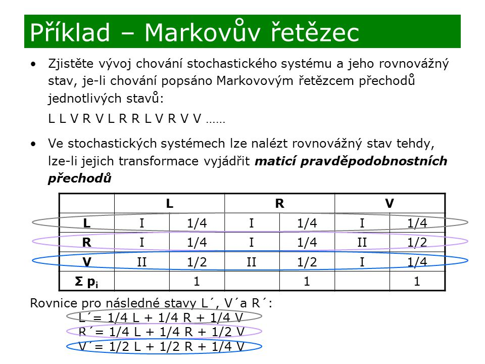 Zjistěte vývoj chování stochastického systému a jeho rovnovážný stav, je-li chování popsáno Markovovým řetězcem přechodů jednotlivých stavů: L L V R V
