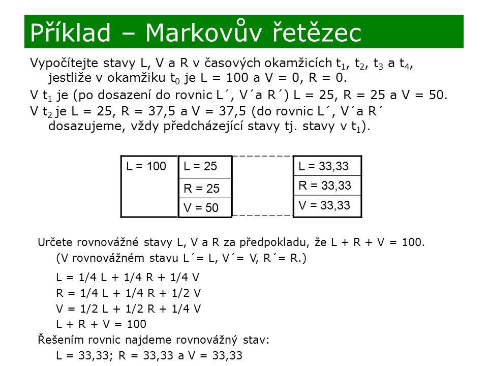 Vypočítejte stavy L, V a R v časových okamžicích t 1, t 2, t 3 a t 4, jestliže v okamžiku t 0 je L = 100 a V = 0, R = 0. V t 1 je (po dosazení do rovn