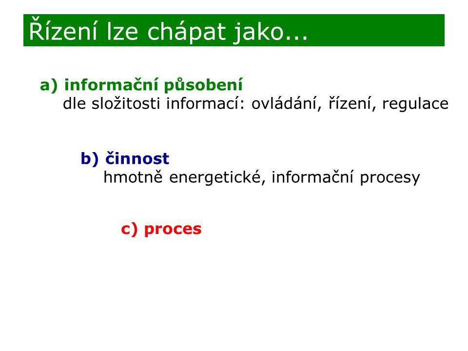 Řízení lze chápat jako... a) informační působení dle složitosti informací: ovládání, řízení, regulace b) činnost hmotně energetické, informační proces