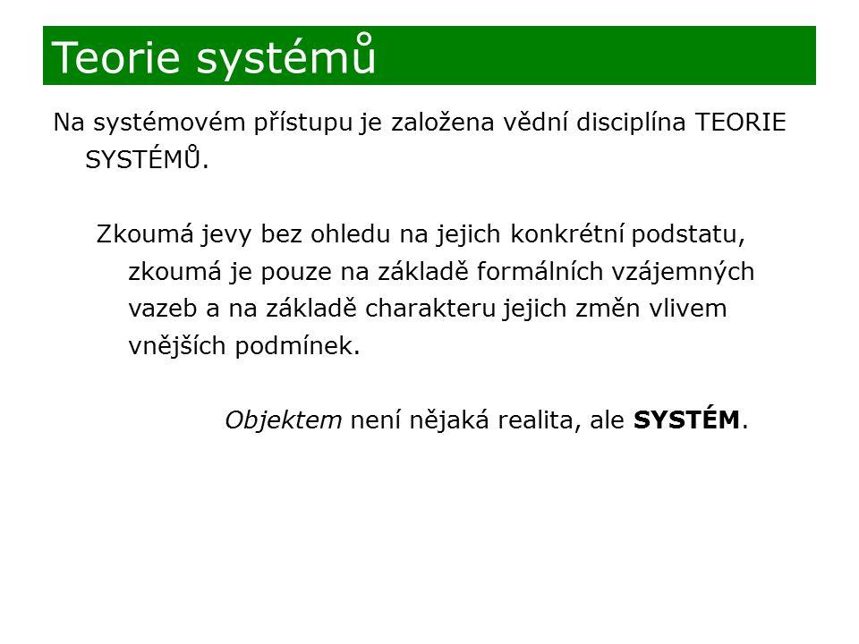 Teorie systémů Na systémovém přístupu je založena vědní disciplína TEORIE SYSTÉMŮ. Zkoumá jevy bez ohledu na jejich konkrétní podstatu, zkoumá je pouz