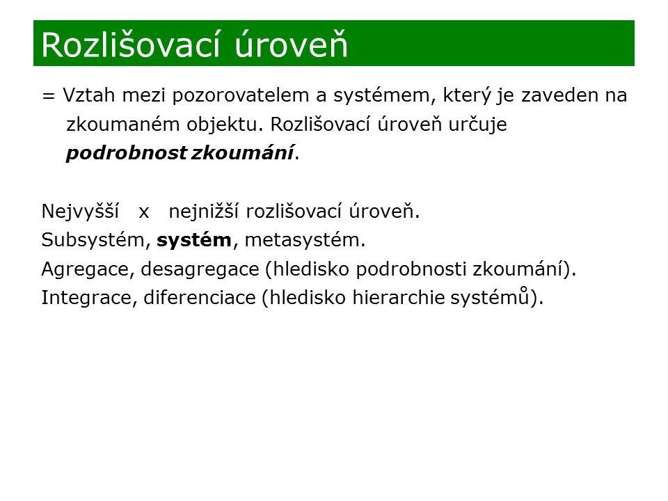 Rozlišovací úroveň = Vztah mezi pozorovatelem a systémem, který je zaveden na zkoumaném objektu. Rozlišovací úroveň určuje podrobnost zkoumání. Nejvyš