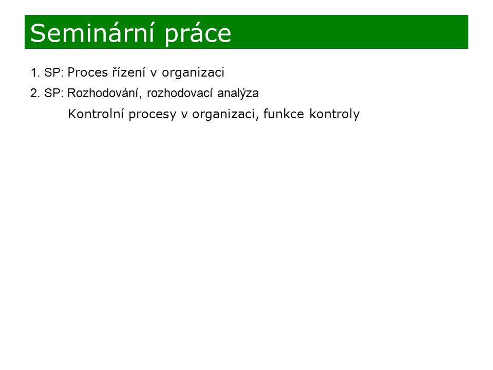 1. SP: Proces řízení v organizaci 2. SP: Rozhodování, rozhodovací analýza Kontrolní procesy v organizaci, funkce kontroly Seminární práce