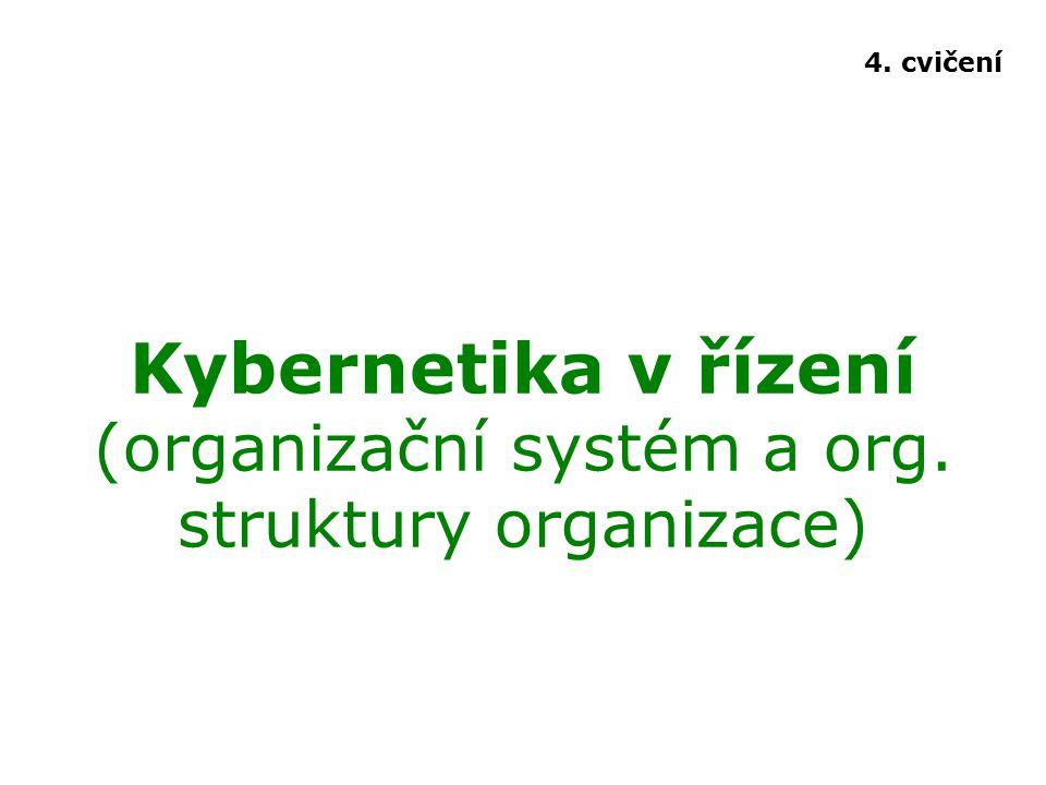Kybernetika v řízení (organizační systém a org. struktury organizace) 4. cvičení