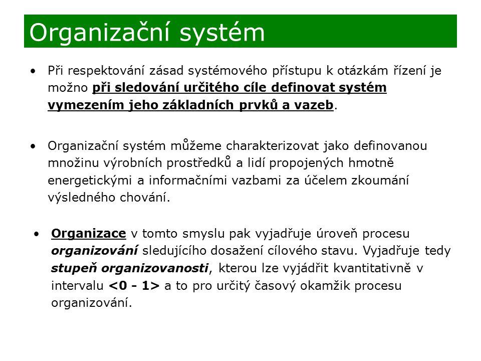 Při respektování zásad systémového přístupu k otázkám řízení je možno při sledování určitého cíle definovat systém vymezením jeho základních prvků a v
