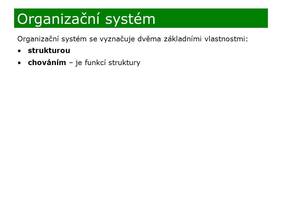 Organizační systém se vyznačuje dvěma základními vlastnostmi: strukturou chováním – je funkcí struktury Organizační systém