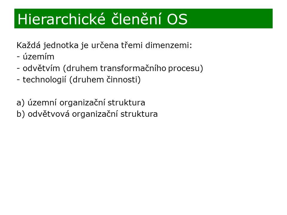 Každá jednotka je určena třemi dimenzemi: - územím - odvětvím (druhem transformačního procesu) - technologií (druhem činnosti) a) územní organizační s