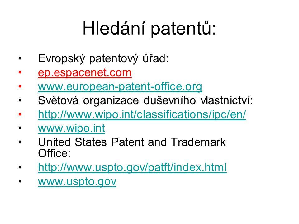 Hledání patentů: Evropský patentový úřad: ep.espacenet.com www.european-patent-office.org Světová organizace duševního vlastnictví: http://www.wipo.in