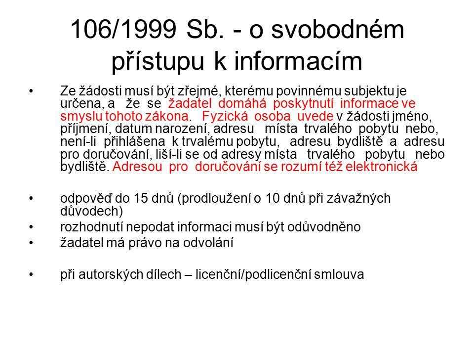 106/1999 Sb. - o svobodném přístupu k informacím Ze žádosti musí být zřejmé, kterému povinnému subjektu je určena, a že se žadatel domáhá poskytnutí i