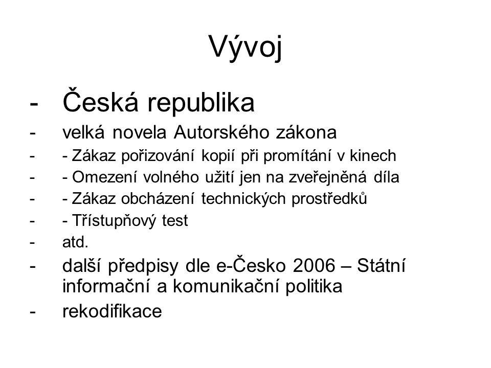 Vývoj -Česká republika -velká novela Autorského zákona -- Zákaz pořizování kopií při promítání v kinech -- Omezení volného užití jen na zveřejněná díl