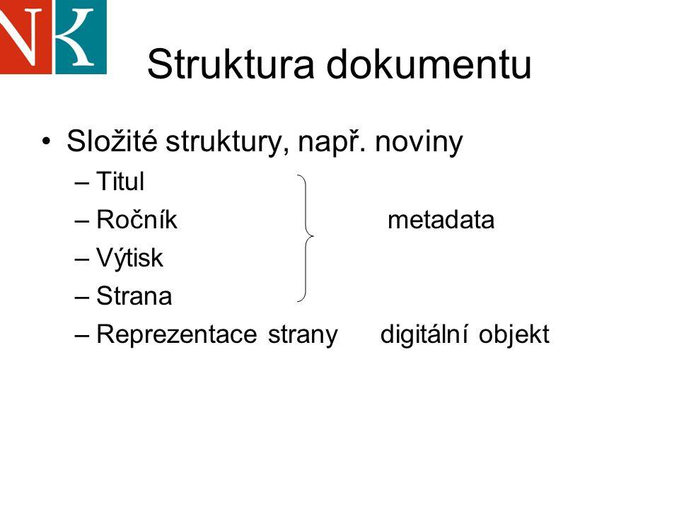 Struktura dokumentu Složité struktury, např.
