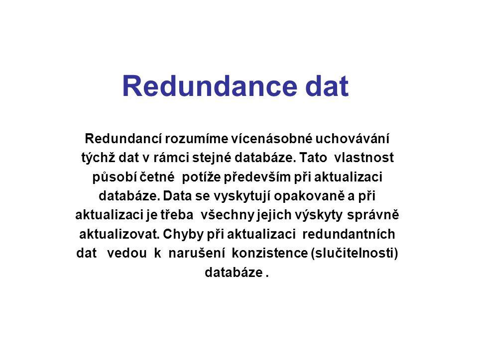 Redundance dat Redundancí rozumíme vícenásobné uchovávání týchž dat v rámci stejné databáze. Tato vlastnost působí četné potíže především při aktualiz