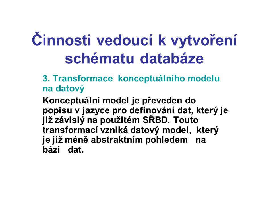 Činnosti vedoucí k vytvoření schématu databáze 3. Transformace konceptuálního modelu na datový Konceptuální model je převeden do popisu v jazyce pro d