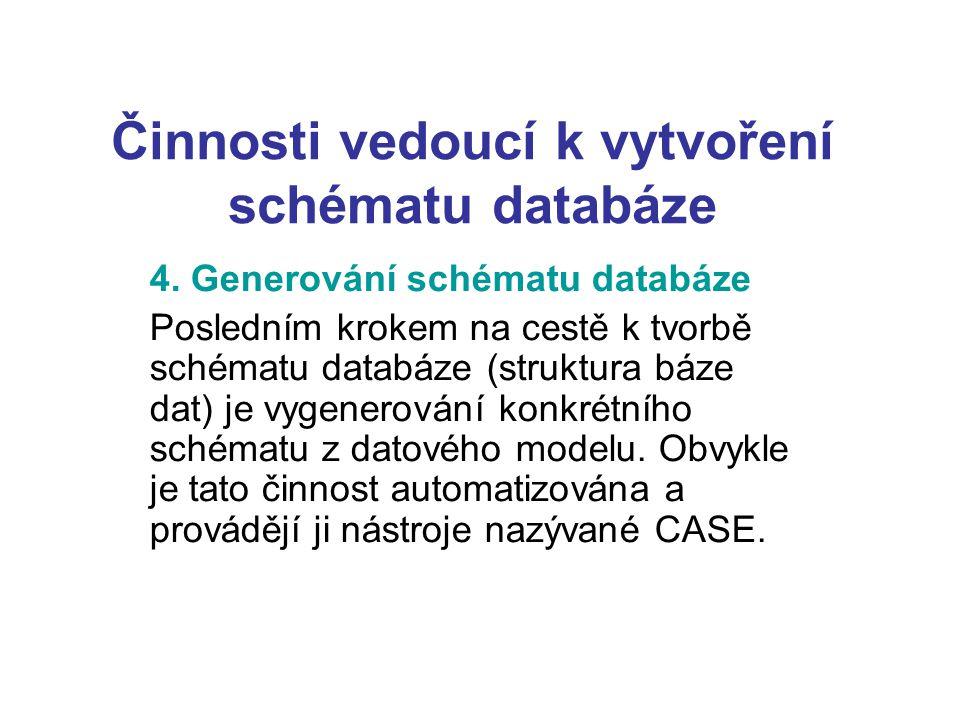 Činnosti vedoucí k vytvoření schématu databáze 4. Generování schématu databáze Posledním krokem na cestě k tvorbě schématu databáze (struktura báze da
