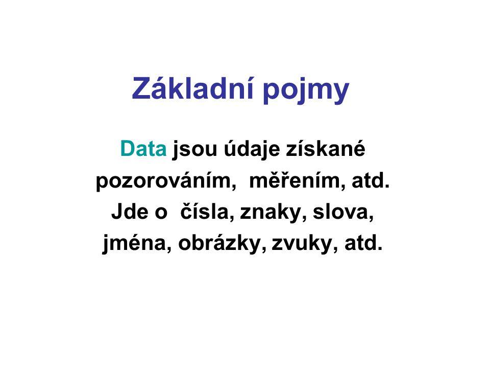 Základní pojmy Data jsou údaje získané pozorováním, měřením, atd. Jde o čísla, znaky, slova, jména, obrázky, zvuky, atd.