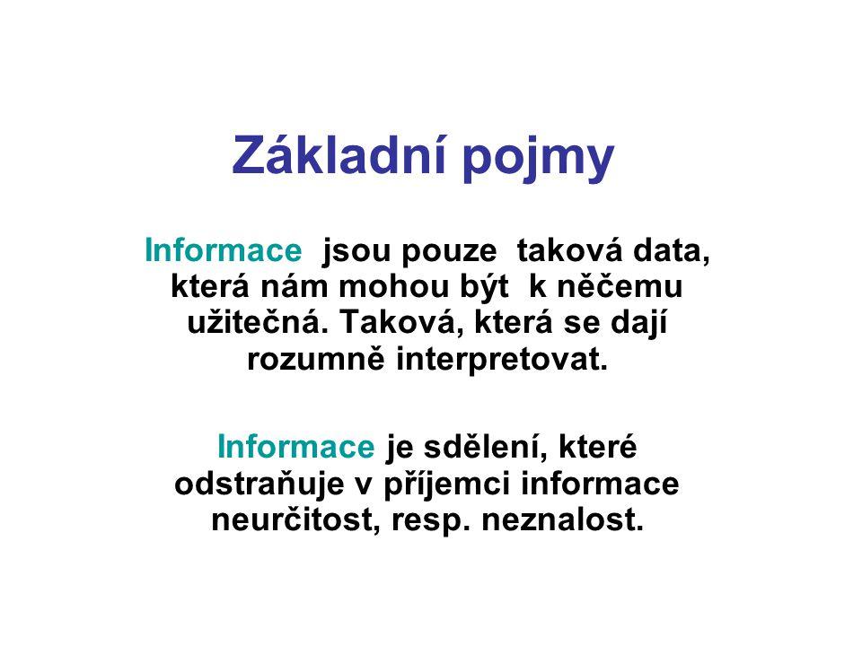 Základní pojmy Informace jsou pouze taková data, která nám mohou být k něčemu užitečná. Taková, která se dají rozumně interpretovat. Informace je sděl
