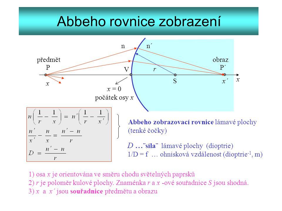 Abbeho rovnice zobrazení S V r x n n´ x x´ x = 0 počátek osy x PP´ předmět obraz Abbeho zobrazovací rovnice lámavé plochy (tenké čočky) D … ¨síla¨ lám