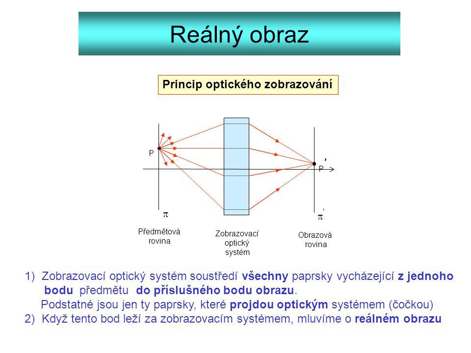 Reálný obraz 1) Zobrazovací optický systém soustředí všechny paprsky vycházející z jednoho bodu předmětu do příslušného bodu obrazu. Podstatné jsou je