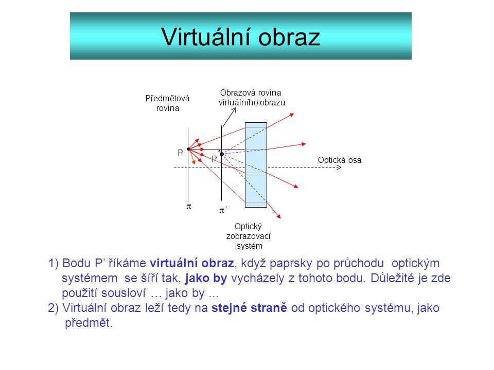 Virtuální obraz 1) Bodu P' říkáme virtuální obraz, když paprsky po průchodu optickým systémem se šíří tak, jako by vycházely z tohoto bodu. Důležité j