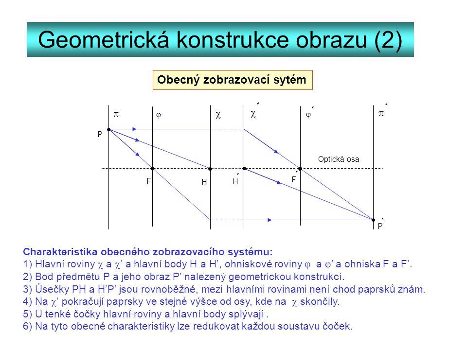 Geometrická konstrukce obrazu (2)     P P F F H H   Charakteristika obecného zobrazovacího systému: 1) Hlavní roviny  a  ' a hlavní body H a