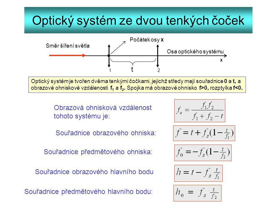 Optický systém ze dvou tenkých čoček x 12 t Počátek osy x Směr šíření světla Optický systém je tvořen dvěma tenkými čočkami, jejichž středy mají souřa