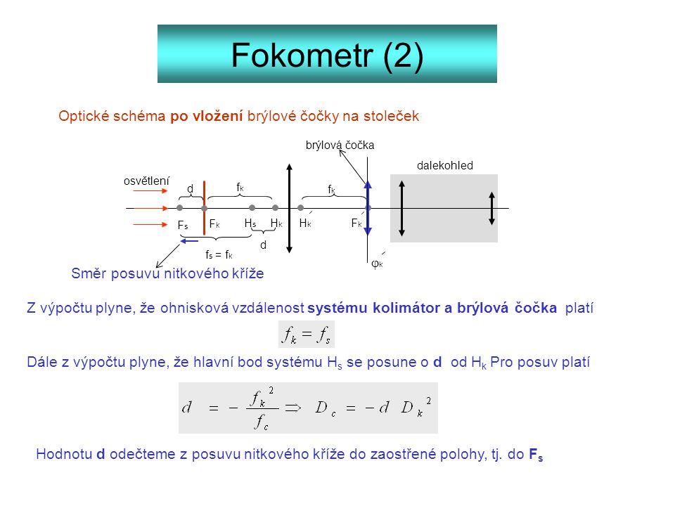 Fokometr (2) Optické schéma po vložení brýlové čočky na stoleček dalekohled FkFk FkFk HkHk HkHk fkfk fkfk osvětlení brýlová čočka HsHs FsFs d d f s =