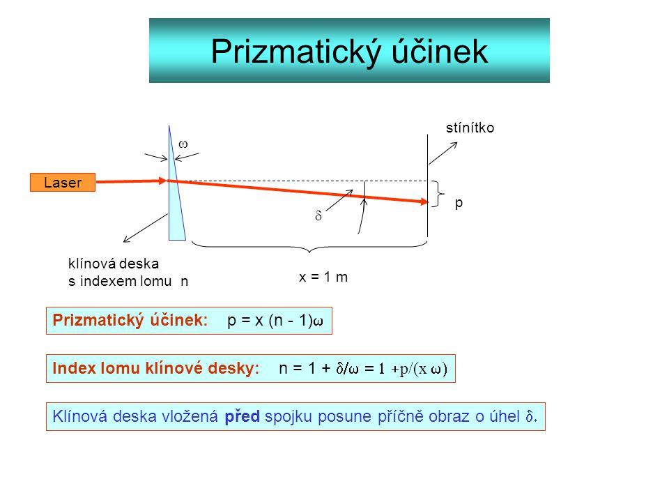 Prizmatický účinek Laser   stínítko klínová deska s indexem lomu n x = 1 m p Prizmatický účinek: p = x (n - 1)  Index lomu klínové desky: n = 1 + 