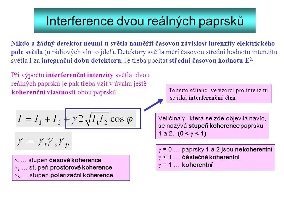 Interference dvou reálných paprsků Nikdo a žádný detektor neumí u světla naměřit časovou závislost intenzity elektrického pole světla (u rádiových vln
