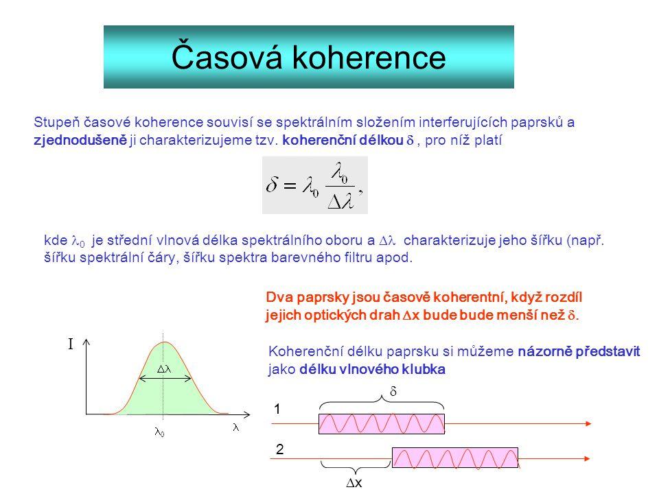 Časová koherence Stupeň časové koherence souvisí se spektrálním složením interferujících paprsků a zjednodušeně ji charakterizujeme tzv. koherenční dé