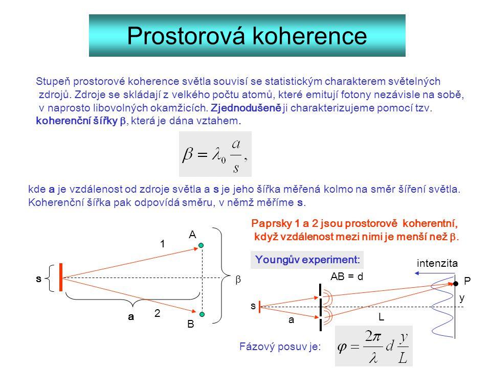 Prostorová koherence Stupeň prostorové koherence světla souvisí se statistickým charakterem světelných zdrojů. Zdroje se skládají z velkého počtu atom