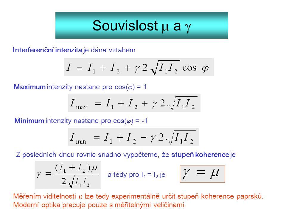 Souvislost  a  Interferenční intenzita je dána vztahem Maximum intenzity nastane pro cos(  ) = 1 Minimum intenzity nastane pro cos(  ) = -1 Z posl