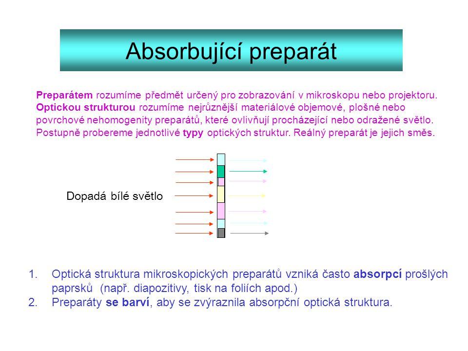 1.Optická struktura mikroskopických preparátů vzniká často absorpcí prošlých paprsků (např. diapozitivy, tisk na foliích apod.) 2.Preparáty se barví,