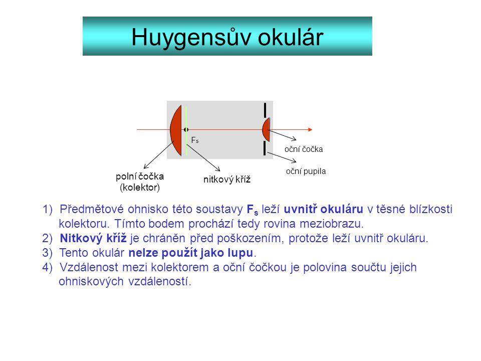Huygensův okulár FsFs 1) Předmětové ohnisko této soustavy F s leží uvnitř okuláru v těsné blízkosti kolektoru. Tímto bodem prochází tedy rovina meziob